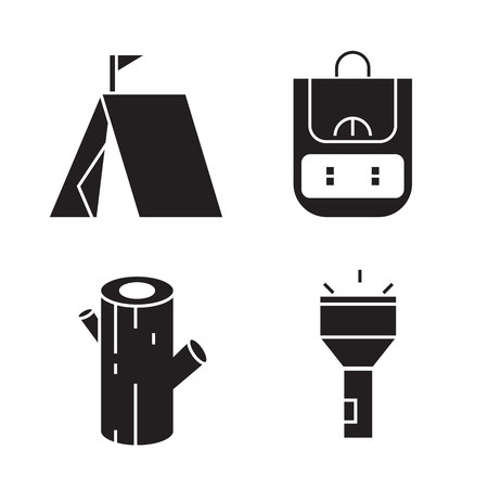 camping and outdoor collection icons Illusztráció