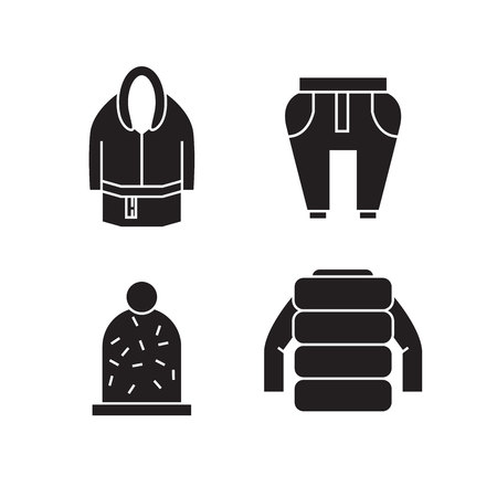 cloth and fashion accessories icons set Illustration