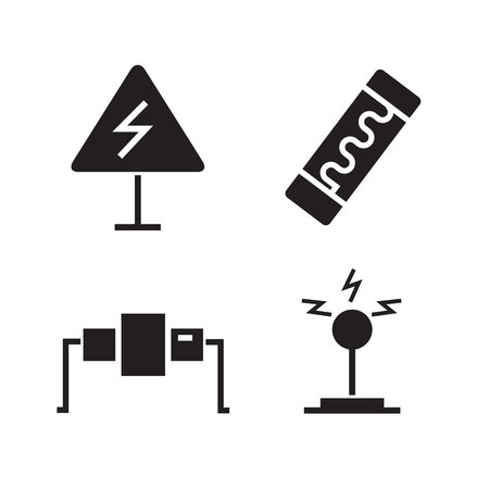 electrical components and tools icons set