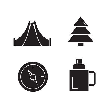 camping and outdoor collection icons Vector Illustration