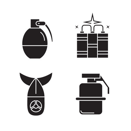 bomb and grenade icons set