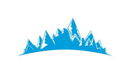 blue mountain range on white background Illusztráció