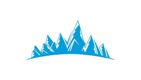 blue mountain range on white background 向量圖像