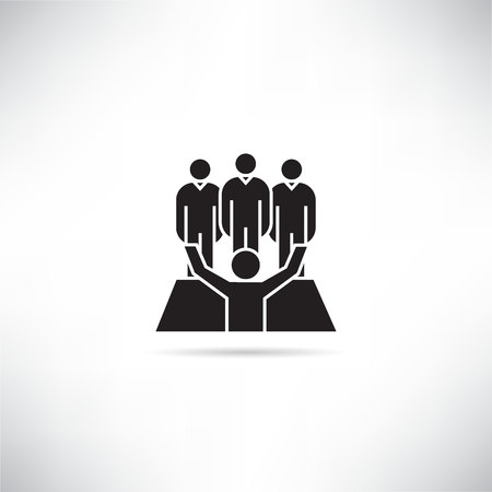 business people, leadership and teamwork concept icon