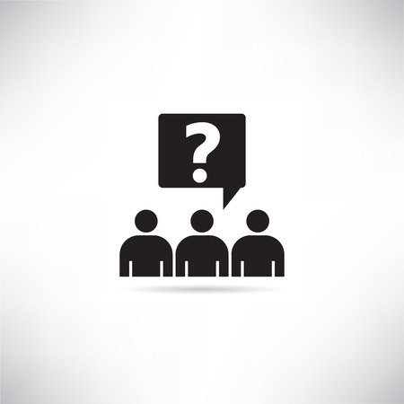 group of people and question mark for discussion group concept icon Çizim