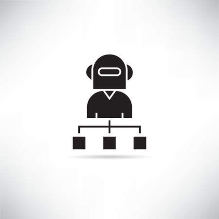 robot chairman organization chart icon
