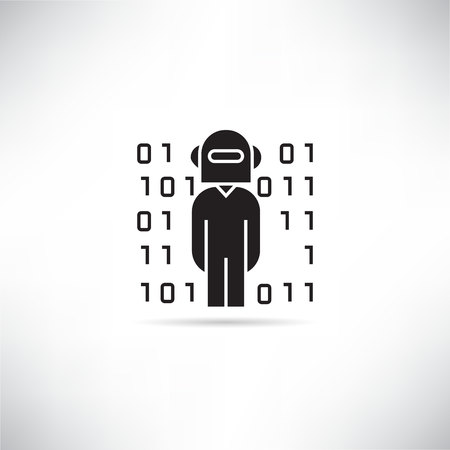 robot worker and binary number icon