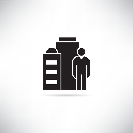 entrepreneur and office building icon Illustration