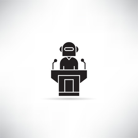 robot chairman and speaker on podium icon