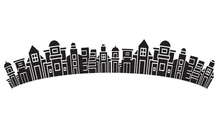 city skyline, silhouette collection of building curve shape on white background