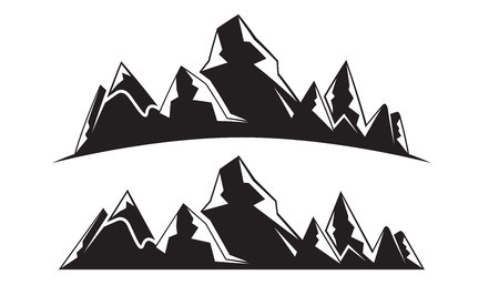 silhouette mountain landscape illustration Ilustrace