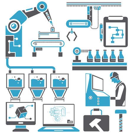 Automatización en la línea de producción y conjunto de iconos de gestión de ingeniería industrial. Ilustración de vector