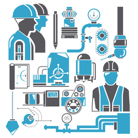 automation, and industrial engineering management icons