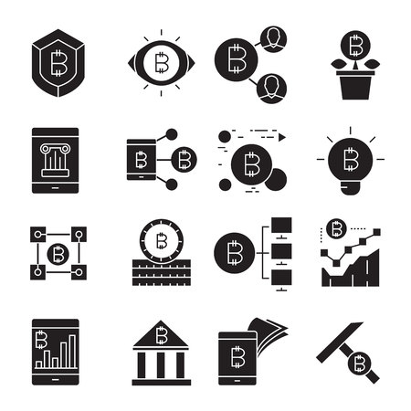 cryptocurrency and bitcoin icons Vector Illustration