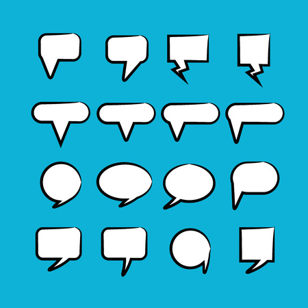 comic speech bubbles in blue background