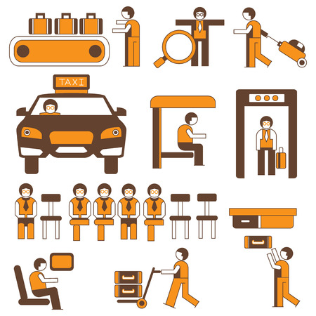 people in airport and public situations, icons, orange color theme Vecteurs