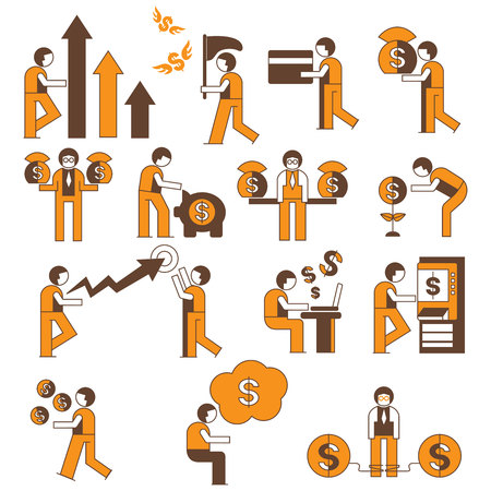 business man different activity for investment and financial concept, orange theme