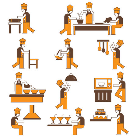cooking chef character icons set, orange color theme