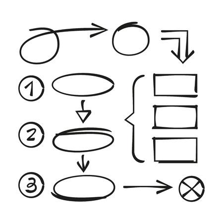 éléments de diagramme dessinés à la main Vecteurs
