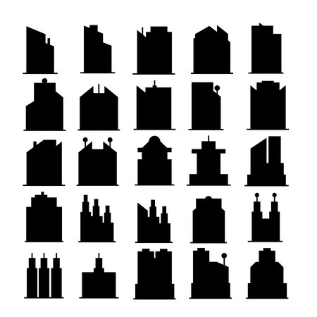 silhouette building tower icons