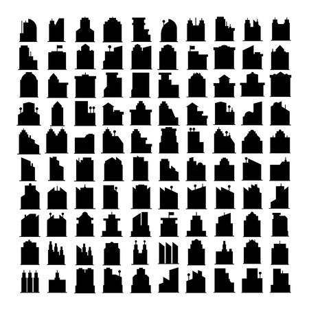 silhouette building tower icons, skyscraper set Ilustração Vetorial