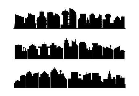 modern city skyscrapers silhouette Ilustração