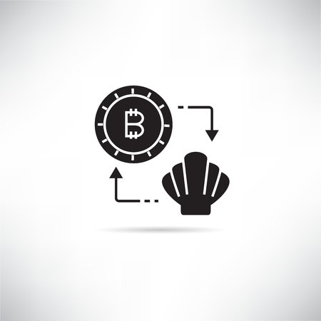 bitcoin and shell for currency barter and trading concept icon