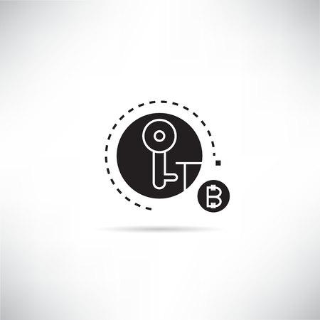bitcoin encryption key concept icon Illusztráció