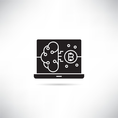 bitcoin, brain artificial intelligence concept icon
