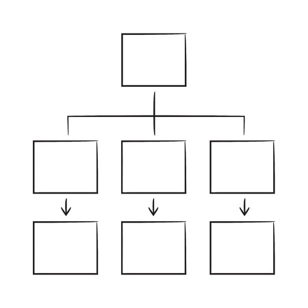 hand drawn hierarchy chart, diagram template white background