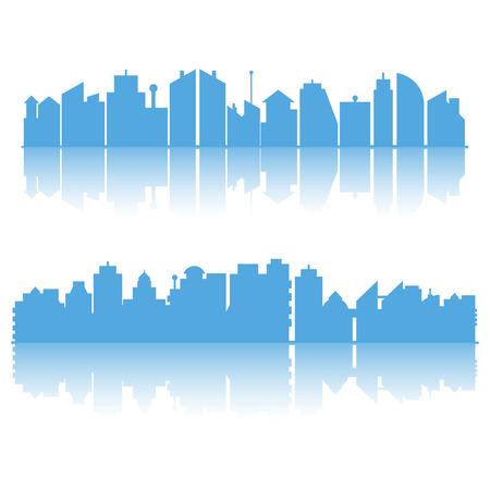 blue city skyline building on white background