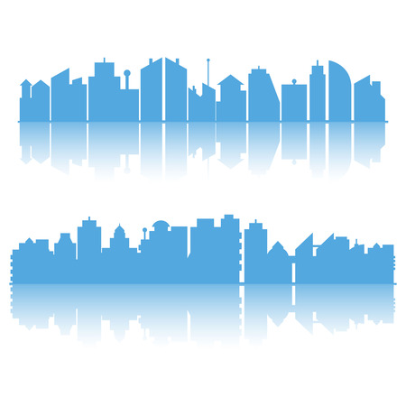 blue city skyline building on white background