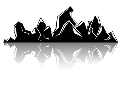 black mountain and shadow on white background