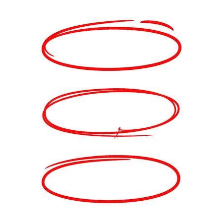 éléments de marqueur ovale dessinés à la main rouge