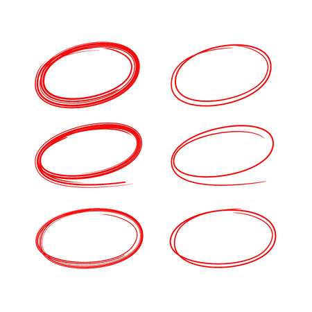 red hand drawn oval marker elements