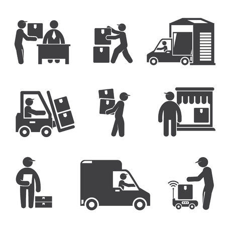 shipping and delivery service people icons Illustration
