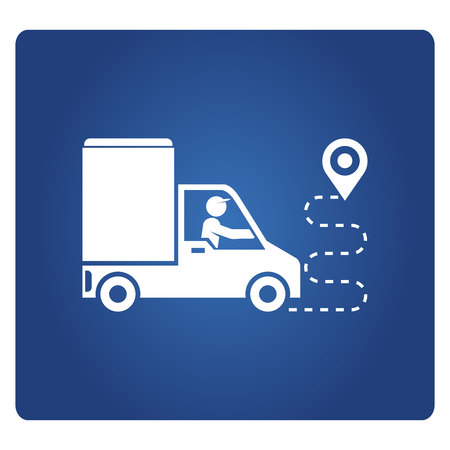 truck delivery and route map Illustration
