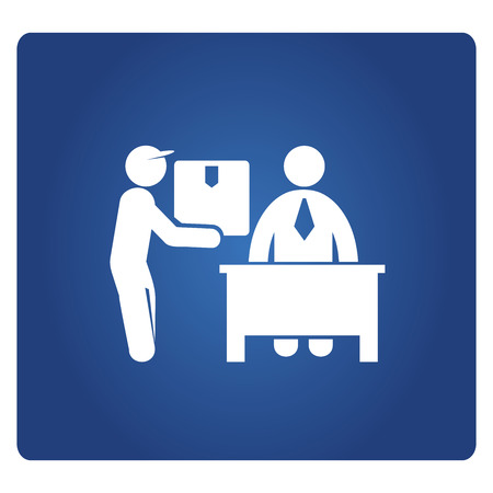 delivery man and receiver or customer in blue Stock Illustratie
