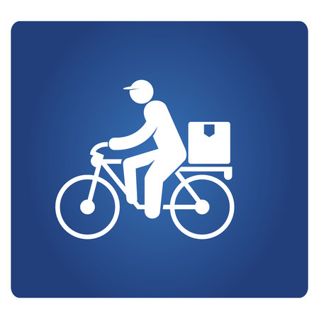 delivery man riding a bicycle