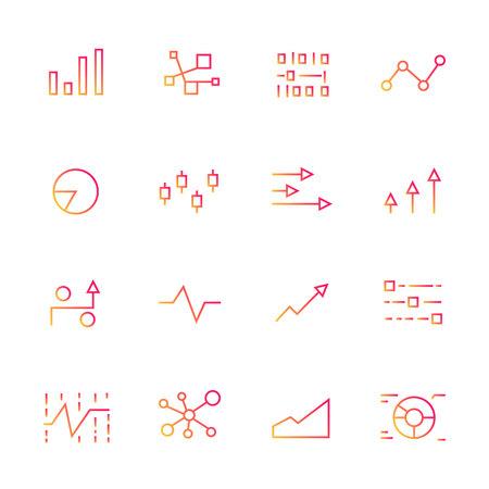 graph and chart icons, red line Illusztráció