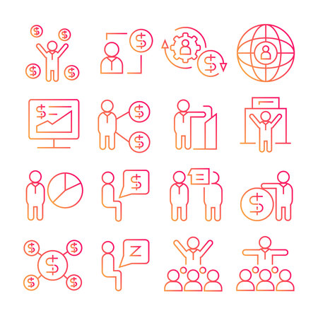 business management red line icons