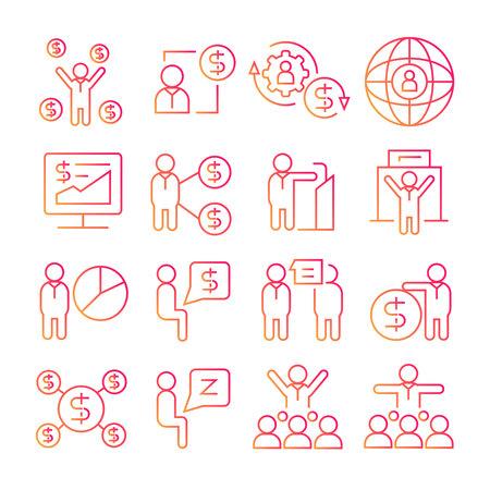 icônes de ligne rouge de gestion d'entreprise