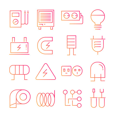 electricity icons in red line design