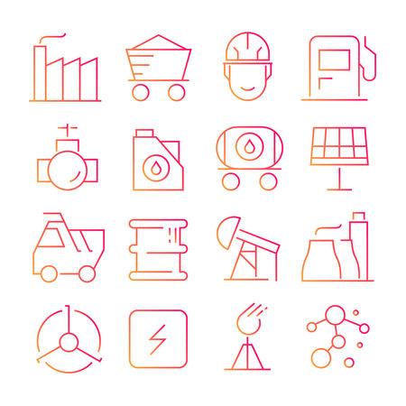 energy icons in red line design Standard-Bild - 119709244