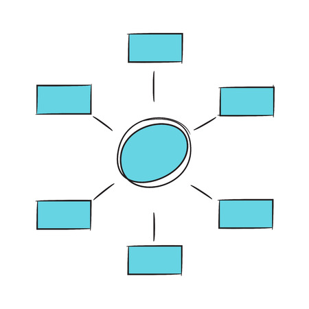blue hand drawn business diagram template
