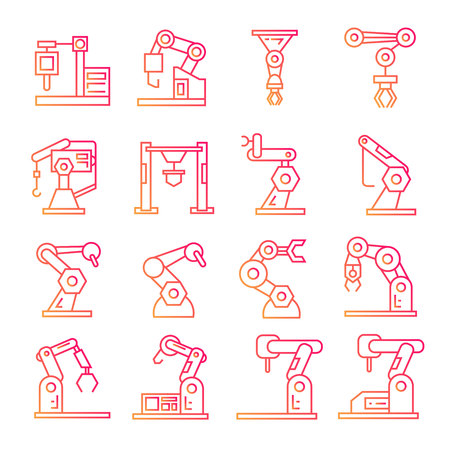 robotic arm  icons manufacturing process in red line theme