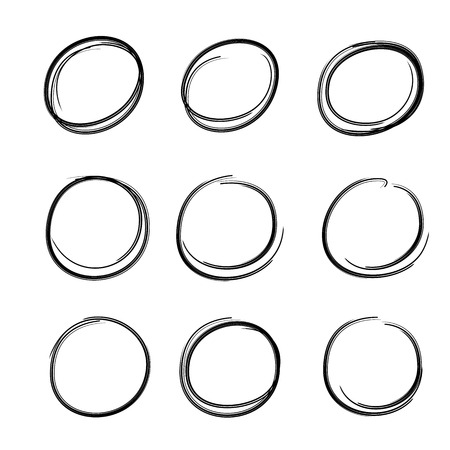 black circles and ovals marker elements Stock Vector - 119946266