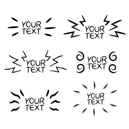hand drawn and doodle elements for emphasis text in comic style