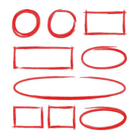 red hand drawn circle and rectangle marker elements