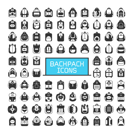 big set of backpack and school bag icons